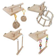 Деревянные птичьи Жердочки клетка игрушки хомяк играть тренажерный зал стенд с деревянными качели ротанга мяч