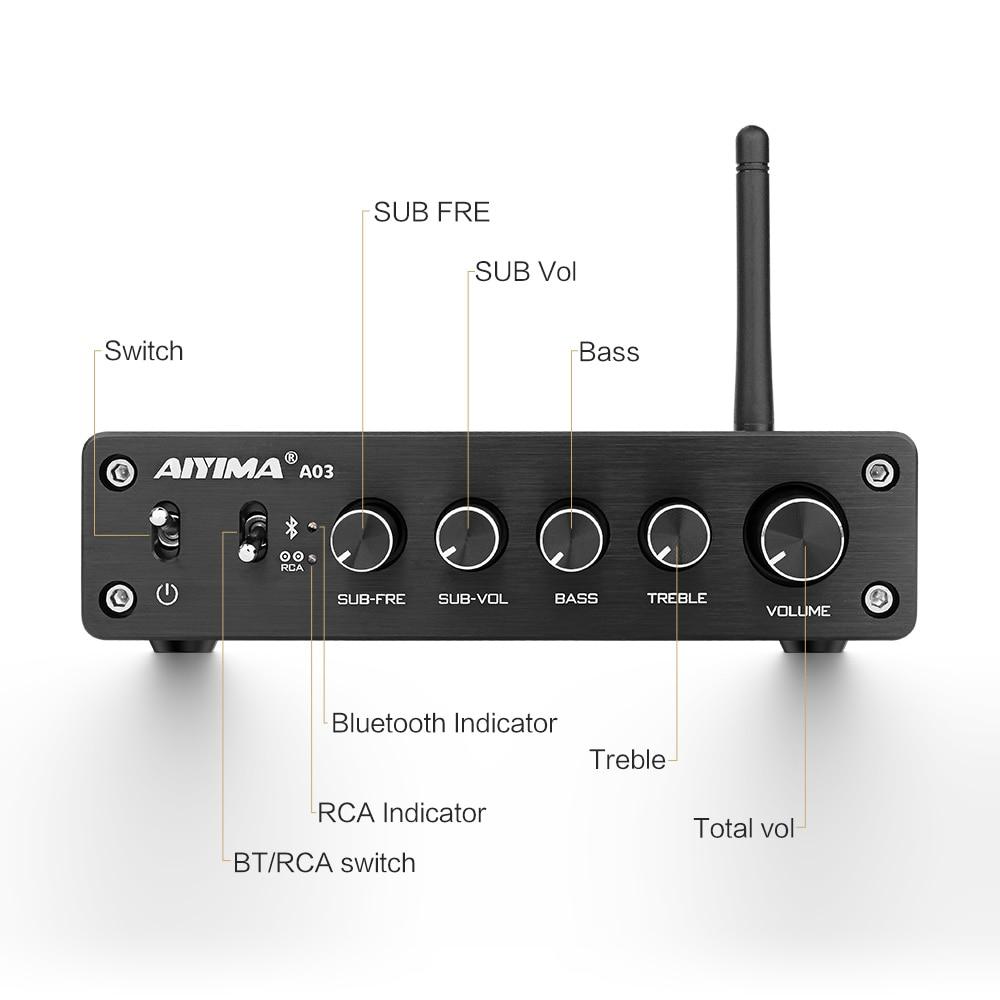 AIYIMA TPA3116 Subwoofer Bluetooth amplificador HiFi TPA3116D2 2,1 Digital de CANAL Amplificadores de Audio 50W * 2 + 100W DC12-24V - 3
