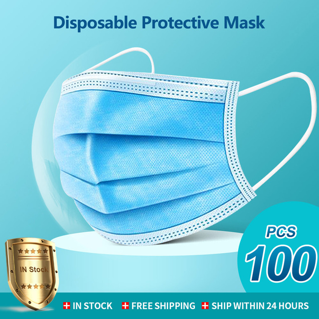 100 Pcs Face Mouth Mask 3 Layers Disposable Non-woven Masks Anti-Pollution filter safe Breathable Mask Dustproof Earloop Masks
