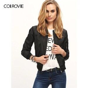 Image 3 - COLROVIE Black Stand Collar Zipper Crop Jacket Women 2019 Fall Streetwear Fashion Bomber Jackets Ladies Solid Outerwear