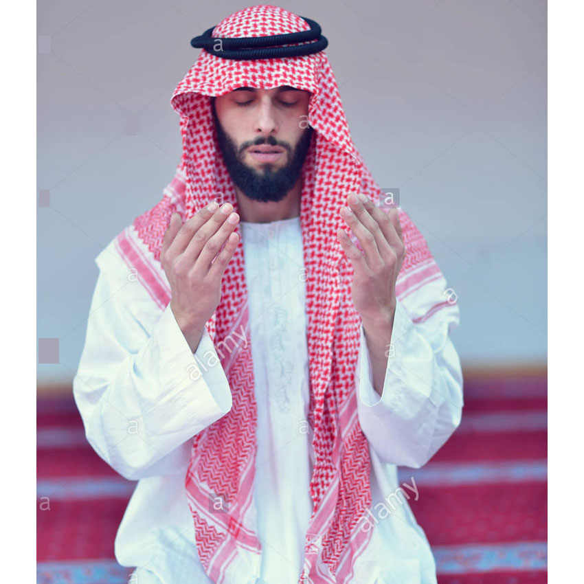Islamic Clothing Man Saudi Arabic Dubai Traditional Costumes Muslim Accessories Turban Praying Hat Plaid Head Scarf 135*135cm