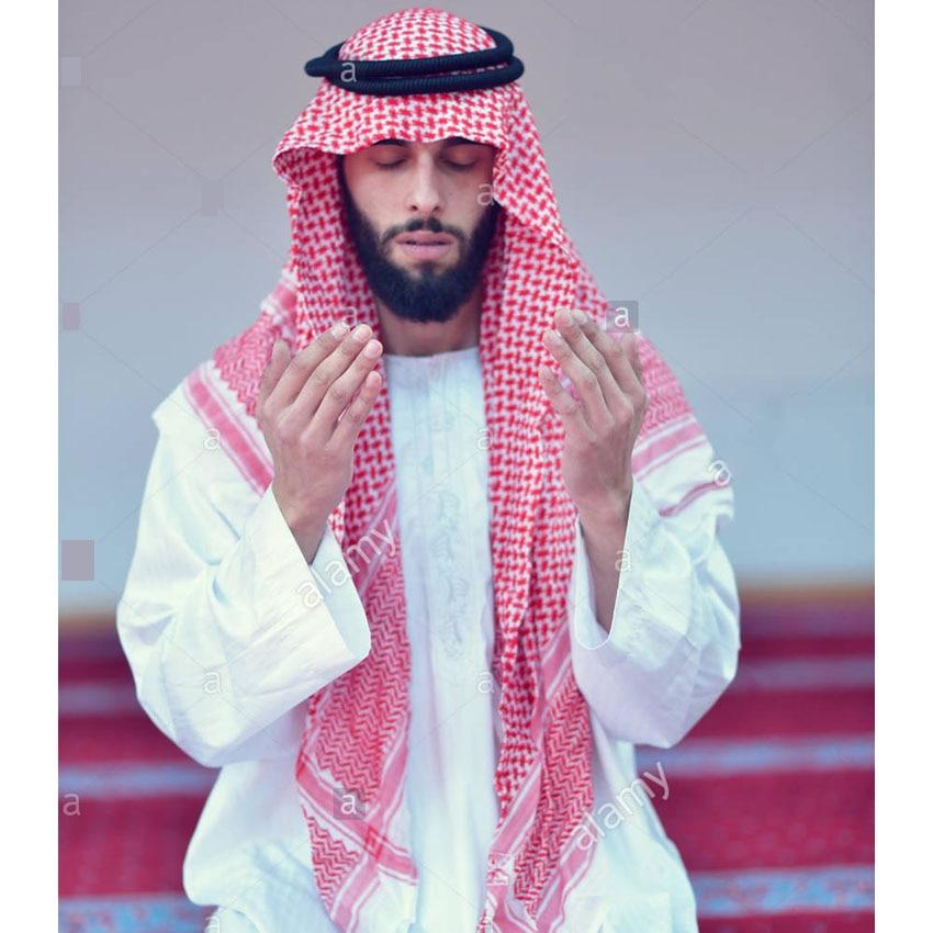 Islamic Clothing Man Saudi Arabic Dubai Traditional Costumes Muslim Accessories Turban Praying Hat Plaid Head Scarf 135*135cm