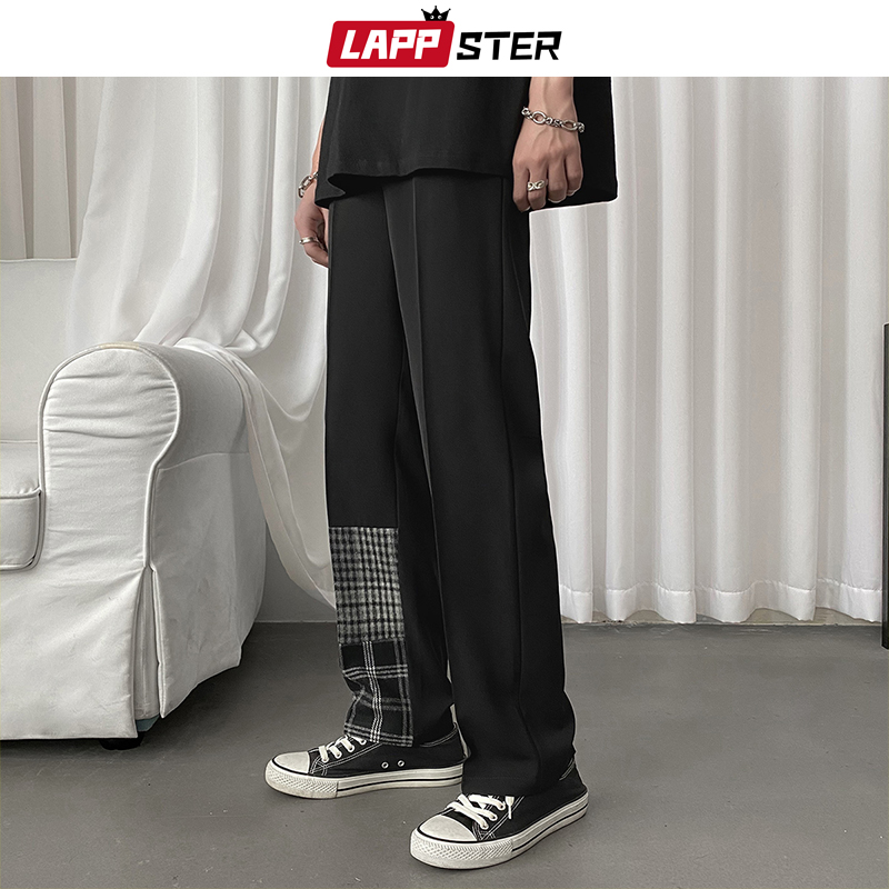 LAPPSTER Men Plaid Patchwork Harem Pants 2020 Mens Korean Fashiosn Joggers Pants Male Japanese Harajuku Casual Wide Leg Pants