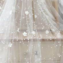 Off White 3D blossom pearl beading tulle lace fabric , bridal veil wedding gown lining gorgeous flower lace DIY accessories 150cm wide