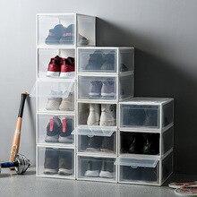 1Pcs פלסטיק מגירת סוג קופסא נעליים שקופה תיבת עבור נעלי כדורסל AJ נעל אחסון קופסות אחסון נעליים ארגונית