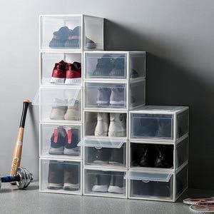 Image 1 - 1Pcs Plastic Drawer Type Shoe Box Transparent Box For Shoes Basketball AJ Shoe Storage Boxes Shoe Storage Organizer