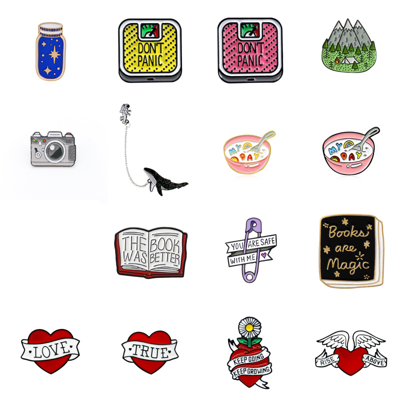 2019 Cartoon enamel brooch camera collection reading magic book <font><b>button</b></font> badge <font><b>pin</b></font> for friends jewelry bag accessories trinket image