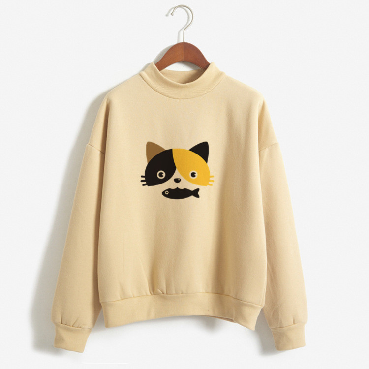 Cute Cat Personalized Custom Printed Women Winter Hoodies Sweatshirts Harajuku Hoodie Cotton Long Sleeves Women Clothing