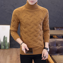 Solid Color Turtleneck Sweater Men Clothing Autumn Winter Warm Pullover Turtle Neck Long Sleeve Slim Fit Korean Casual