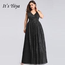 It's Yiya вечернее платье с v-образным вырезом Длинные женские вечерние платья Плюс Размер без рукавов robe De Soiree черные вечерние платья C559