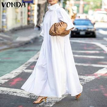 2020 VONDA Summer Dress Women Turtleneck Vintage Short Sleeve Party Dresses Plus Size Elegant Robe Bohemian Vestidos 5XL Dresses vonda summer dress 2020 women sexy ruffled neck sleeveless tank mini dresses plus size bohemian party robe femme vestidos
