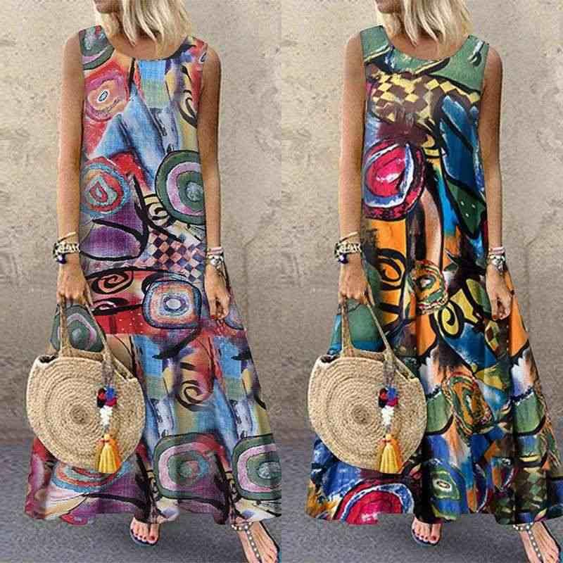 ZANZEA Zomer Vrouwen Bloemen Gedrukt Zonnejurk Bohemian Mouwloze Jurk Robe Femme Vintage Sarafans Kaftan Strand Vestido Plus Size