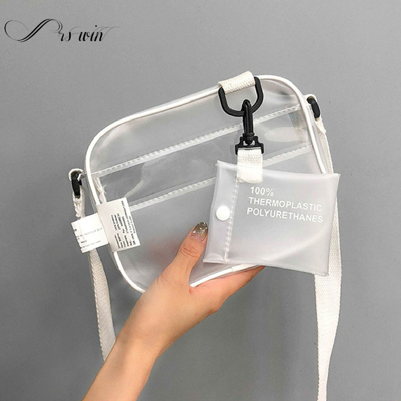 Causual PVC Transparent Clear Woman Crossbody Bags Shoulder Bag Handbag Jelly Small Phone Bags With Card Holder Wide Straps Fla