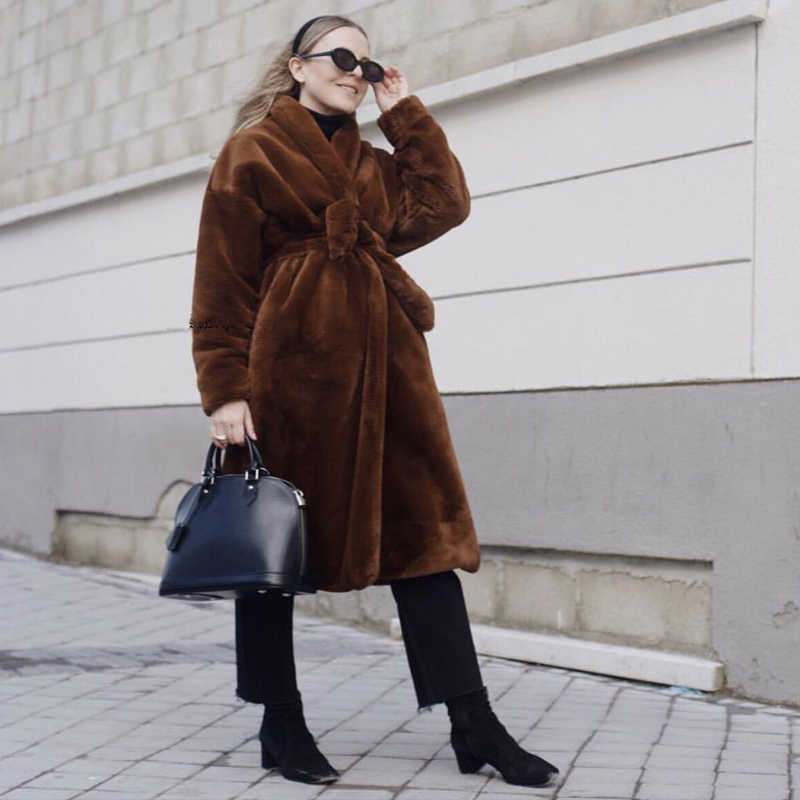 Women Trench Nordic Niche Design Faux Fur Coat Bathrobe Belt Woman Coats Winter 2019 Designer Jacket