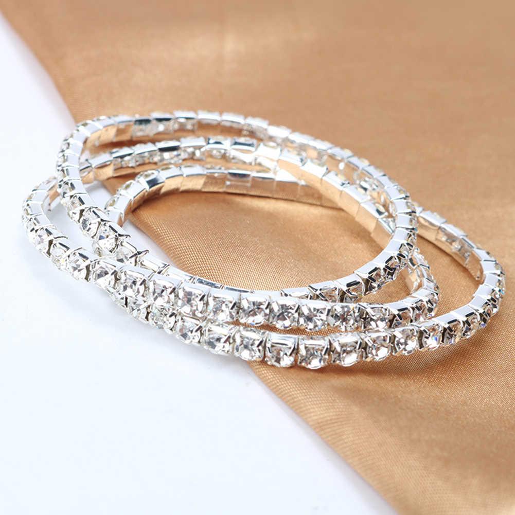 Pulsera de lujo para mujer, una fila multicapa, pulsera con incrustaciones de diamantes de imitación, brazalete elástico, joyería, nuevos accesorios para mujer