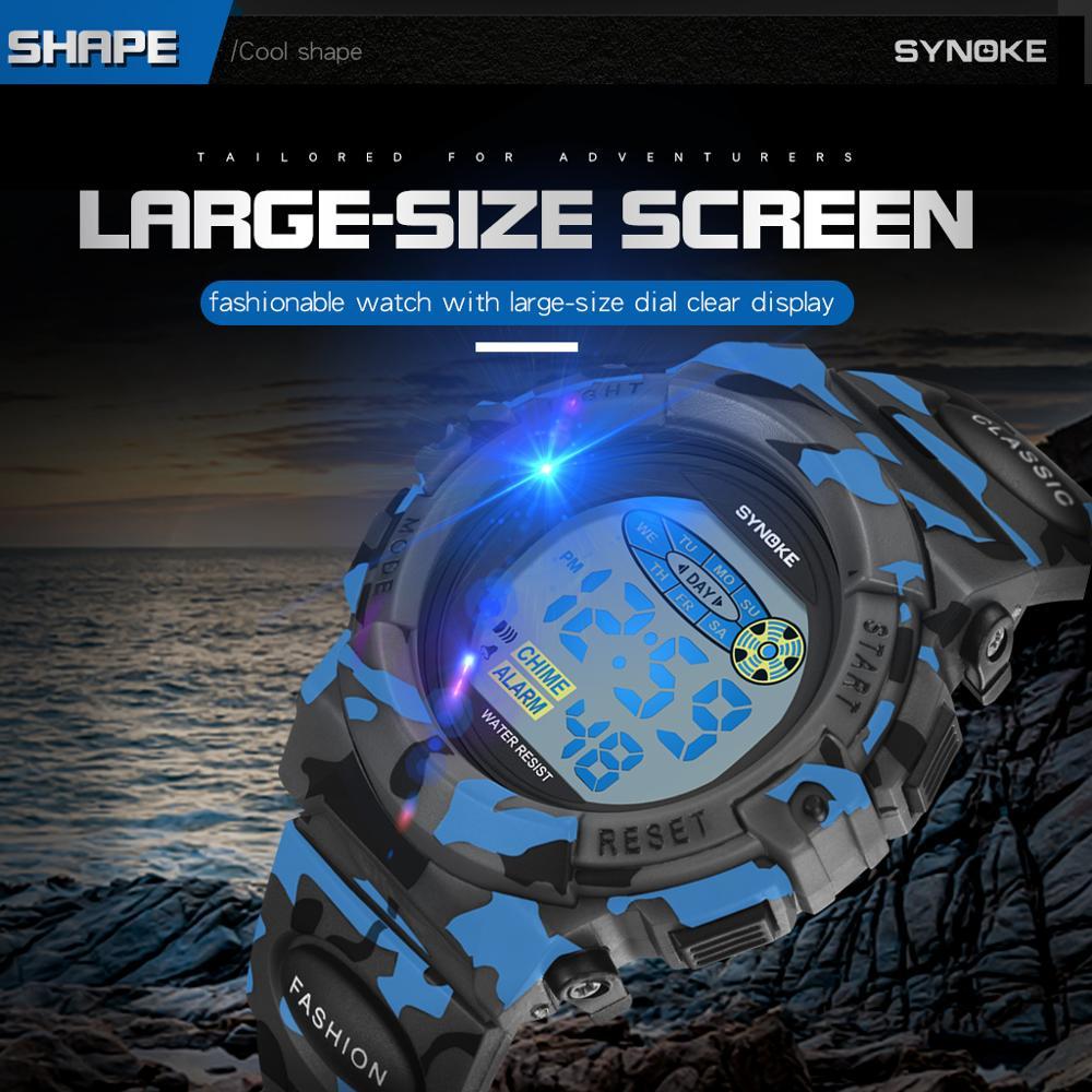SYNOKE дети часы цифровые наручные часы спорт жизнь водонепроницаемость пластик корпус будильник мальчики девочки дети часы montre enfan