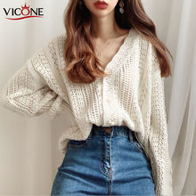 VICONE chic hook flower bud silk hollow out sweet western Loose Knitted Cardigans Solid Casual Tops chic hollow out flower rhinestoned brooch for women