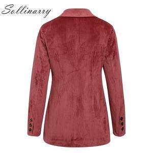 Image 4 - Sollinarry, двубортные модные пальто, куртки для женщин, осень, зима, красные вельветовые куртки, элегантные, женские, OL, тонкая верхняя одежда, Ретро стиль