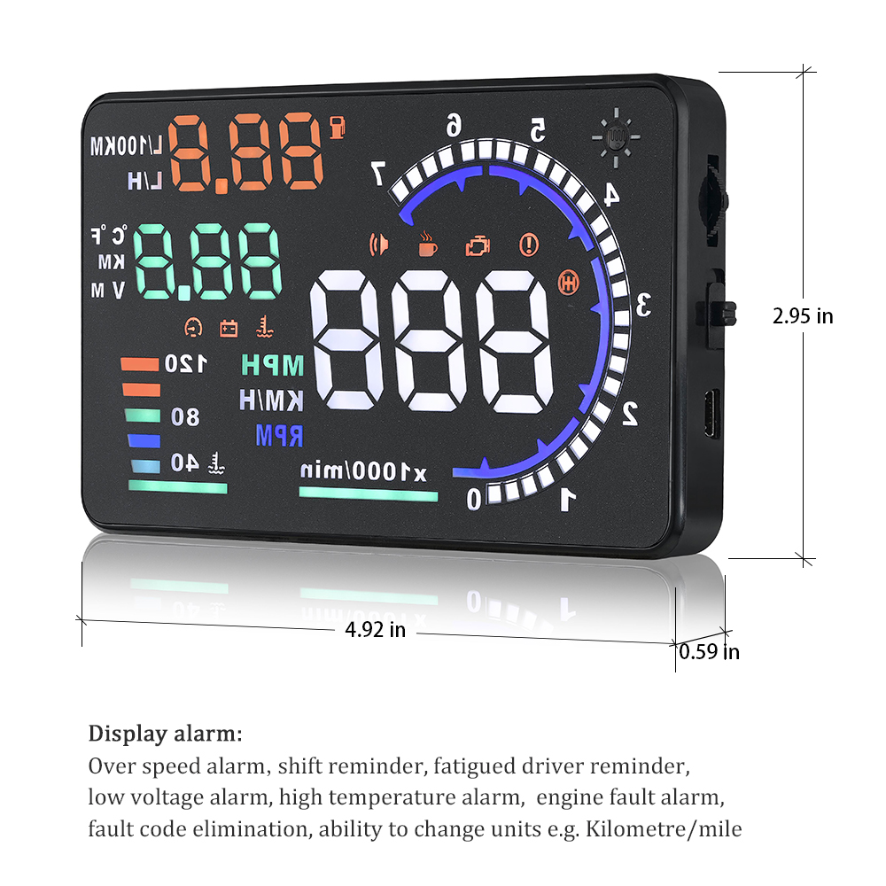 Image 5 - Genuine OBDHUD A8 5.5In HeadUp Display Car Windshield Projector OBDII Speed Warning Fuel Consumption Automobile Car Alarm System-in Head-up Display from Automobiles & Motorcycles