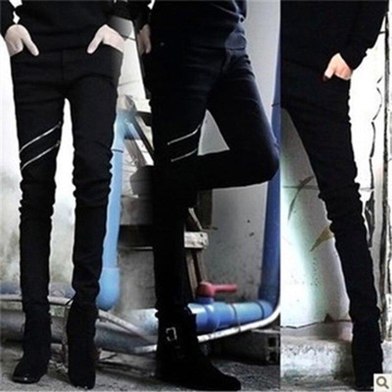 Wholesale 2020 Fashion Summer Thin Double Zipper Skinny Teenagers Boys Black Show Thin Hip Hop Streetwear Jeans Men 28-34