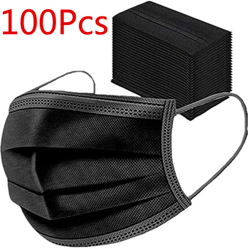 10/100pcs black Mask Activated Carbon Face Cover  Unisex fashion Breathable Mouth Cover Mask mascarilla españa