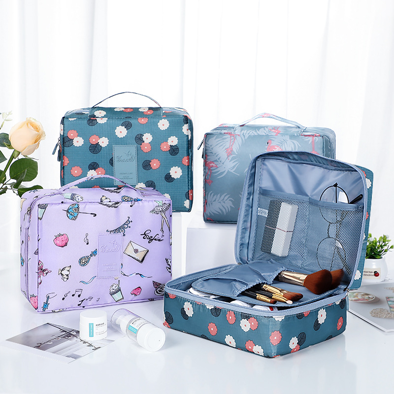 Women Makeup Bag Nylon Cosmetic Bag Beauty Case Make Up Female Necessities Organizer Toiletry Bag Kits Storage Travel Wash Pouch