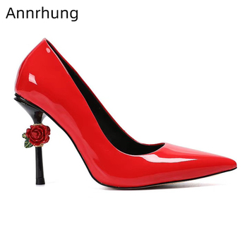 Vivid Carved Rose Flower Decor High Heel Shoes Bright Red Patent Leather Slim Dress Shoes Pointed Toe Pumps Women