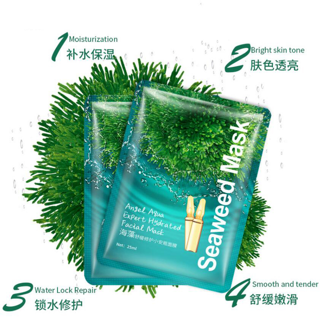 Korean Seaweed Facial Mask Angel Aqua Expert Hydrated Face Mask Moisturizing Nourishing Hydrating Women Face Skin Care 3