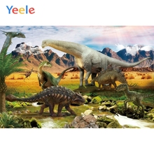 Yeele Dinosaur Backdrop Mountain Forest Scenery Newborn Baby Kids Birthday Party Photography Background Vinyl For Photo Studio