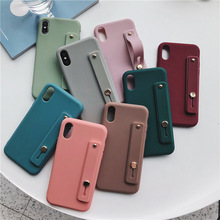 LISCN Soft Silicone Phone Holder Case For iphone 7 8 6 6s plus XR X Xs max Solid Color Wrist Strap Back Cover