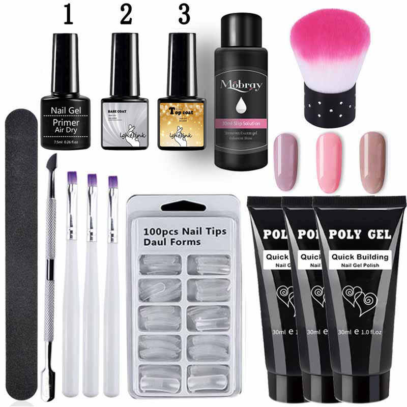 14 Stks/set Poly Gel Set Led Clear Uv Gel Vernis Nagellak Kunst Kit Quick Building Uitbreiding Nagel Lengte Harde gel Polygel Kit