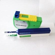 O envio gratuito de fibra óptica kit limpeza com final rosto fibra limpa caneta um clique mais limpo lc fc sc st e2000 conector