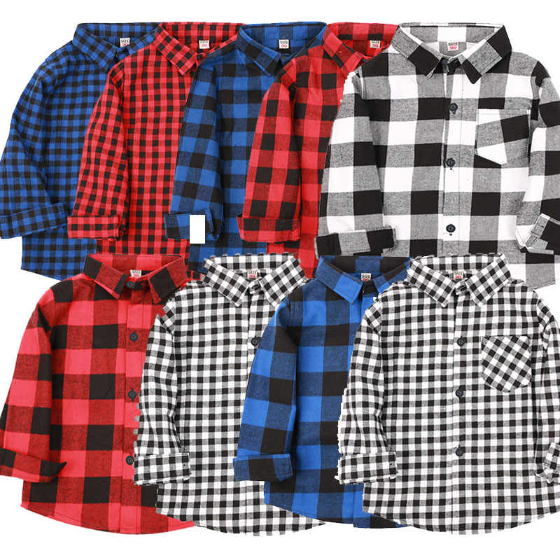 Baby Boys Cotton Plaid Shirts Autumn and Spring Fashion Baby boys Long Sleeve tops England Style boys shirt Kids Clothes