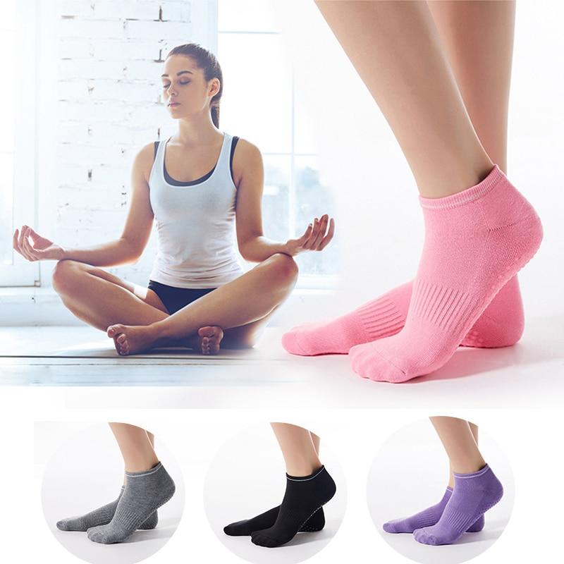 Non Slip Yoga Socks Women's Anti-Skid Breathable Sports Socks Dance Exercise Pilates Barre Yoga Cotton Socks With Grips