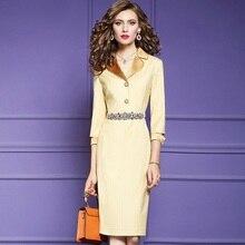 עבודת פס סקסי המפלגה עיפרון שמלת מסלול 2019 חדש באיכות מעולה נשים רטרו בציר שמלת סתיו גבירותיי כיבוש שמלות