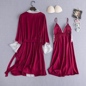 Image 2 - ブルゴーニュ女性パジャマ 2 個パジャマセットセクシーな V ネックのホーム服ナイトウェアレース花ローブガウン睡眠スーツネグリジェ