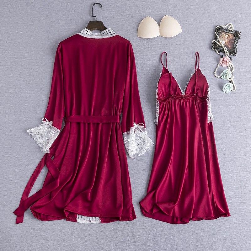 Image 2 - Burgundy Women Sleepwear 2pcs Pajamas Set Sexy V Neck Summer Home Clothing Nightwear Lace Flower Robe Gown Sleep Suit NegligeeRobe & Gown Sets   -
