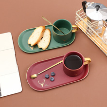 Nordic Style Ceramic Coffee Cup with Spoon Tray for Salad Snack Creative Breakfast Milk Mug Hotel Home Dinner Tableware 2pcs double metal stir spoon for coffee salad dinner