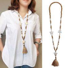 Wholesale Bohemian Handmade Long Sweater Chain Tassel Neckla