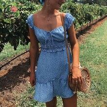 Conmoto Винтажное короткое платье в горошек, летнее платье с высокой талией, сексуальное платье с открытыми плечами, платье с воланами, платье со шнуровкой, лето 2019