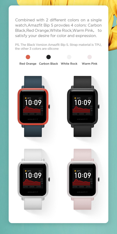 H88323ca433de4d41bc3b951769f494d77 In Stock 2020 Global Amazfit Bip S Smartwatch 5ATM waterproof built in GPS GLONASS Smart Watch for Android iOS Phone