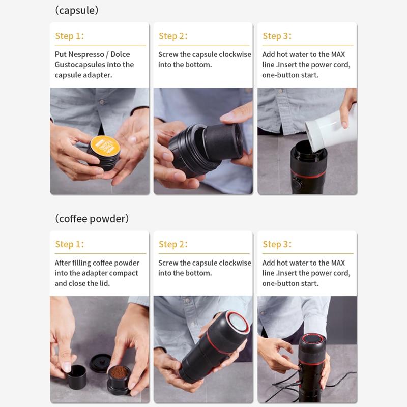 HiBREW Portable Coffee Machine for Car DC12V Expresso Maker Nespresso Dolcegusto Capsule  espresso  machine Coffee Powder H4 5