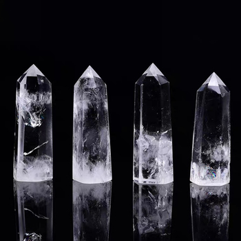 Natural white crystal point restoration stone hexagonal prism crystal healing stone obelisk wand healing stone home decor 10 50 100pcs wholesale 5 6cm natural amethyst crystal wand stone quartz point colorful fluorite obelisk reikichakra healing gift
