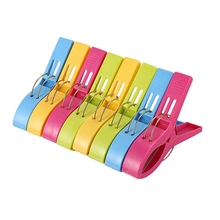 Pack of 8 Large Bright Colour Plastic Beach Towel Pegs Clips for Sunbed, various colours