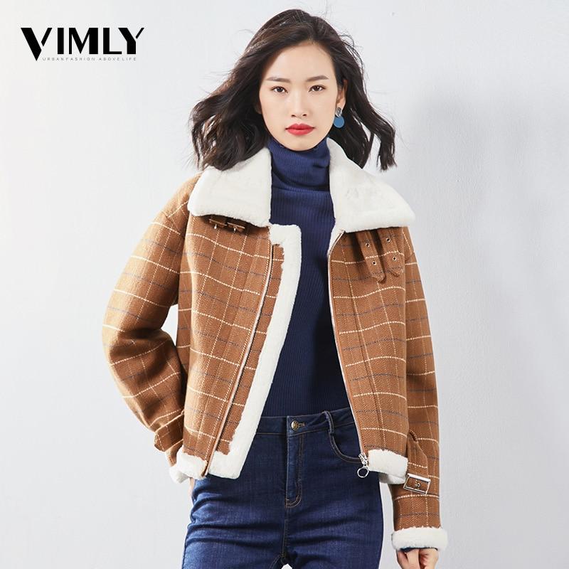 Vimly Women Caramel Plaid Woolen Coat Casual Thick Warm Winter Front Zipper Outwear England Long Sleeve Turn Down Collar Tops
