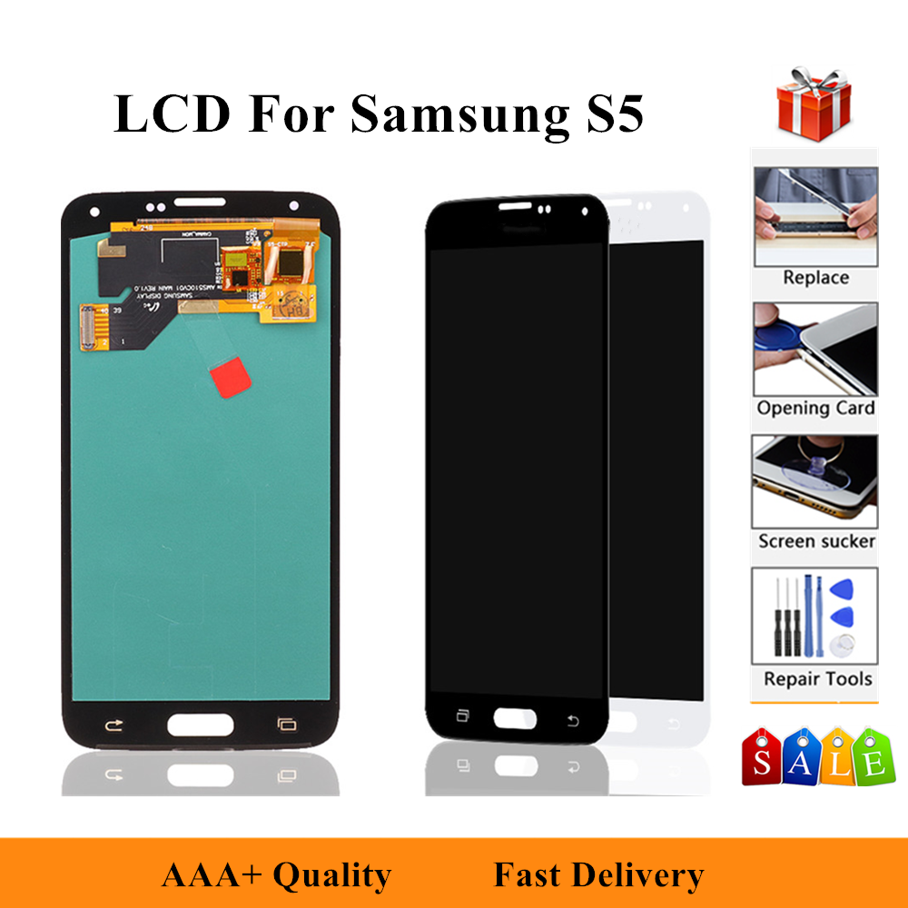 100% Test LCD For <font><b>Samsung</b></font> Galaxy 4G S5 i9600 G900 G900M <font><b>G900F</b></font> Lcd <font><b>Display</b></font> Touch Screen Digitizer Assembly image