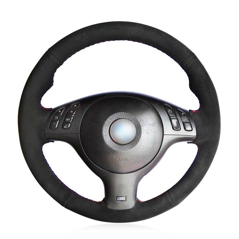 Black Suede Hand Sew Wrap Car Steering Wheel Cover for BMW E46 E39 330i 540i 525i 530i 330Ci M3 2001 2003
