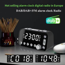 Led despertador digital multifuncional rádio fm dab com tela led e interfaces usb duplas(China)