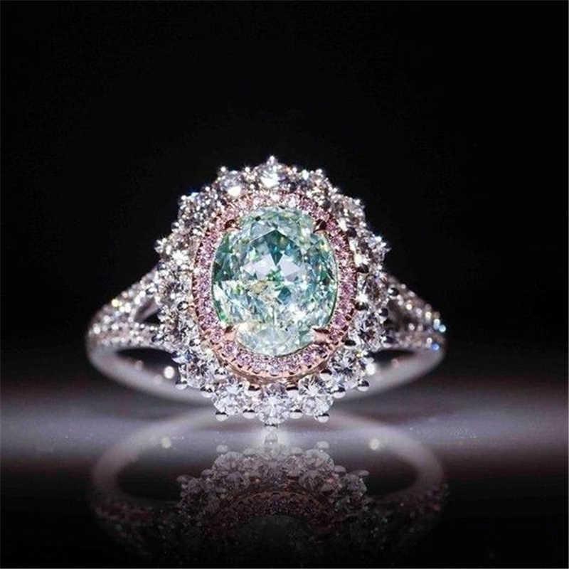 2019 ใหม่สีชมพูคริสตัลแหวนผู้หญิง Green Big Zircon แหวนแหวนแฟชั่นเครื่องประดับงานแต่งงานแหวน Lady ของขวัญ