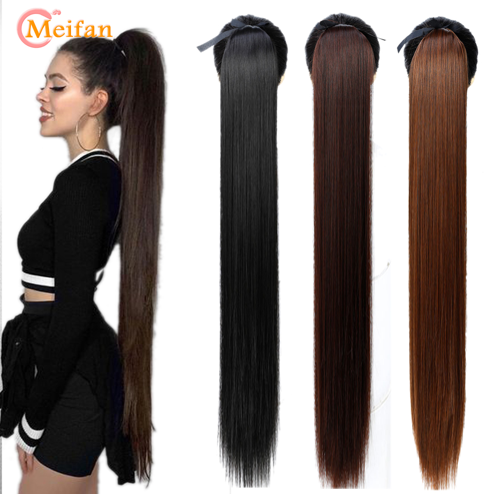 MEIFAN Long Straight Ribbon Drawstring Fake Ponytails Clip On Hair Tail Extensions Synthetic Natural Hair Pieces With Hairpins
